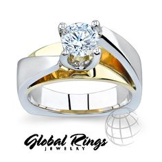 0.50 ct Barkev's Round Cut Diamond Solitaire Engagement Ring in 14kt 2 Toned Gold F-G $2844.30 usd