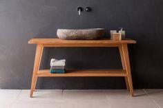 PETRON² | Massivholz Waschtischunterschrank - RIVERROCK CLASSIC | Waschbecken aus Flussstein