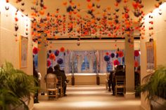 City Club Fort Worth Ceremony space with 1000 Paper Cranes. Paper crane wedding. Wedding altar ideas. Photo by Micah Alexander Photography