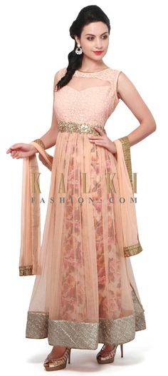 Buy Online from the link below. We ship worldwide (Free Shipping over US$100). Product SKU - 305460.Product Link - http://www.kalkifashion.com/peach-anarkali-suit-enhanced-in-thread-and-floral-print-only-on-kalki.html