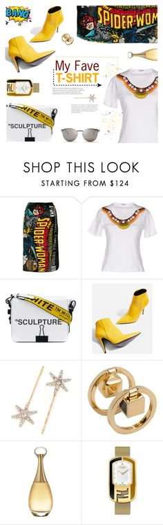 """""""Power Girl"""" by sara-cdth ❤ liked on Polyvore featuring Olympia Le-Tan, Miu Miu, Off-White, Topshop, Jennifer Behr, Fendi and Christian Dior"""