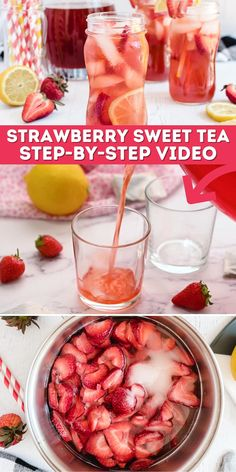 Southern Strawberry Sweet Tea recipe is just what you need on a hot day. It uses easy ingredients and fresh strawberries to create an amazing sweet drink! Summer Recipes, New Recipes, Cooking Recipes, Yummy Drinks, Yummy Food, Cold Drinks, Homemade Iced Tea, Sweet Tea Recipes