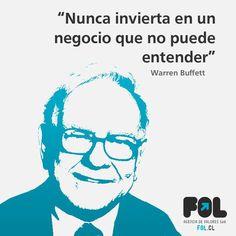 """Nunca invierta en un negocio que no puede entender"" Warren Buffett Warren Buffett, Fictional Characters, Frases, Business, Thoughts, Fantasy Characters"
