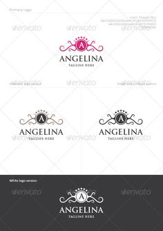 Buy Angelina by KapkaVino on GraphicRiver. Angelina Logo Template Usage: Perfect for Hotels, Spa or Beauty Salon, Fashion, Winery… ( Industry with elegant and l. Circle Logo Design, Circle Logos, Crest Logo, Geometric Logo, Letter Logo, Cool Logo, Logo Templates, Swirls, Color Change