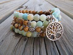 108 Mala beads bracelet, amazonite, Picture Jasper mala necklace tree of life Crystal healing meditation gemstone Mala beads prayer beads #MeditateMate