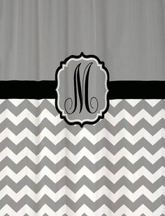 Shower Curtain Chevron YOU CHOOSE COLORS 70 78 84 Or 90 Inch Extra Long Custom Monogram Personalized For Your Bathroom Cool Gray Black