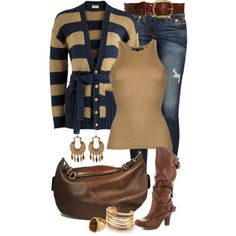 """""""Striped Buttoned-Up Cardigan"""" by angela-windsor on Polyvore"""