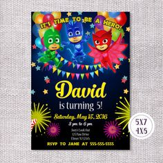 PJ Masks Invitation PJ Masks Birthday Invitation PJ Masks Birthday Party PJ Masks Party Supplies PJ Masks Printables #pjmasks #owlette #catboy #gecko #birthday #superheros #invite #invitation # #partyideas #birthdayparty
