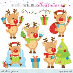 Reindeer Games Cute Digital Clipart  Commercial Use OK