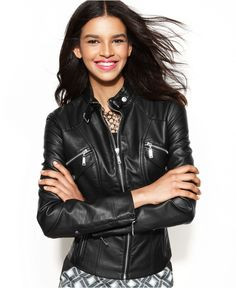 Jou Jou Jacket, Faux-Leather Band-Collar Moto - Coats - Women - Macy's