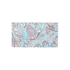 Cute blue gray classic floral checkbook cover - floral style flower flowers stylish diy personalize