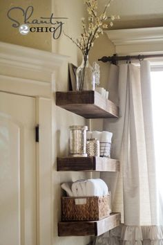 DIY Floating Shelves at Shanty2Chic....super sturdy. I would stain or paint before installing