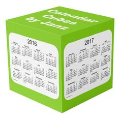 2016-2019 Yellowgreen Large Calendar Cubes by Janz Photo Cube