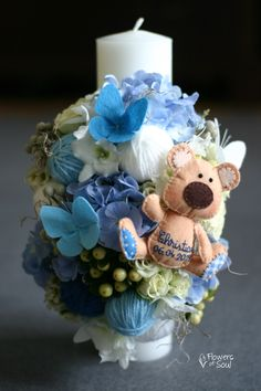 Lumânare de botez personalizată cu fluturi și ursuleț din fetru realizați manual – Flowers of Soul Candels, Baby Boy Shower, Christening, Bouquet, Easter, Flowers, Wedding, Fashion, Candles