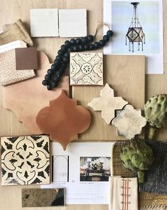 A scheme for our a Santa Barbara style home with soaring ceilings, wide-plank floors, rustic oak beams and cabinetry, and… Mood Board Interior, Interior Design Boards, Home Design, Design Ideas, Wide Plank Flooring, Wood Flooring, Design Palette, Spanish Style Homes, Do It Yourself Home