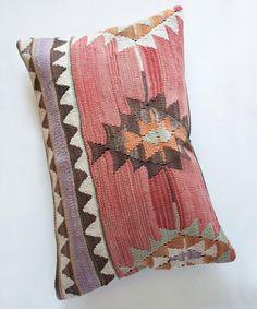 Pink Diamond Lumbar Kilim Pillow