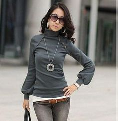 Wholesale Women New Autumn Winter Lantern Sleeve Shirt Turtle Neck Top Long Sleeve Basic Tees,Tops Grey,White #1010