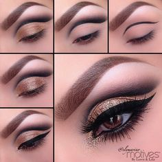 """Everything used is from @Motivescosmetics 1.Start by drawing a line slightly above the natural crease of the eye using Motives for Lala eye Khol in Black! ( this helps to give that sharp cut crease look) 2.Using """"Onyx"""" eye shadow apply it over top and blend upwards and outward. Blend away till there are no harsh edges 3.Take """"Bronze Beauty"""" eyeshadow and apply all over the lid, stayi…"""