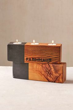 Farmhaus Blochaus Triple Candle Holder- Could be easy to DIY...