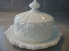 MILKGLASS COVERED Cheese/Butter Dish. by JenniferCheriDesigns