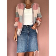 Bilderesultater for sorbetcardigan Diy Knitting Cardigan, Knitting Socks, Mohair Sweater, How To Purl Knit, Knit Jacket, Diy Clothes, Knitwear, Casual Outfits, Sweaters For Women