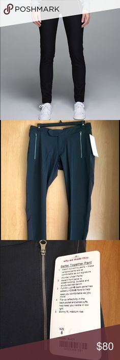 """Lululemon 'Better Together' pants New with tags Lululemon 'Better Together' black stretch pants in a size 8. These pants are so versatile ... you can dress up or down. Skinny fit and medium rise. Zips in front with side zipper accents. Inseam is 31"""". Never worn. No trades. All sales are final. lululemon athletica Pants Track Pants & Joggers"""