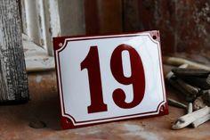 Enamel House Number 4.3 x 5.5 by enamelsign on Etsy