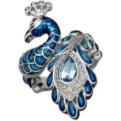 Lord & Taylor  and White Topaz Sterling Silver Peacock Ring ($250) ❤ liked on Polyvore featuring jewelry, rings, blue, fancy rings, sterling silver statement ring, peacock jewelry, blue ring and statement rings