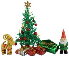Deck the miniature halls with this Lundy Smaland Doll House Christmas Tree Set. Create a festive mood with the decorated, light-up tree and gifts, straw reindeer, and Swedish Father Christmas figure. Christmas Tree Set, Beautiful Christmas Trees, Christmas Settings, Christmas Gnome, Christmas Candy, Christmas Presents, Christmas Decorations, Christmas Ornaments, Holiday Decor
