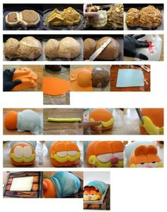Step-by-step Garfield cake instructions