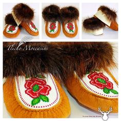 #Tlicho #moccasins made a Tlicho #Dene from #Behchoko, NT. Online here -> http://onlinestore.tlicho.ca/products/tlicho-moccasins