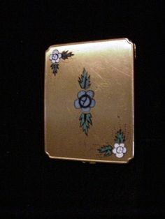 Vintage Compact 1930s Compact Gold Compact Blue Floral Compact Enamel Compact Powder Compact Mirror Compact on Etsy, $69.99