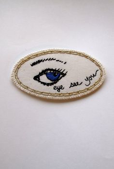 Embroidered eye brooch quirky jewelry Made to by AnAstridEndeavor, $40.00