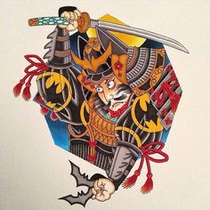 Japanese Prints, Japanese Art, Neo Tattoo, Opera Mask, Evil Demons, Asian Tattoos, Japan Tattoo, Oriental Tattoo, Samurai Tattoo