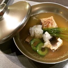 Conger eel broth with house made tofu.  Exquisite.  #hawaiifoodie #japanesecuisine #kaiseki by guchdesign