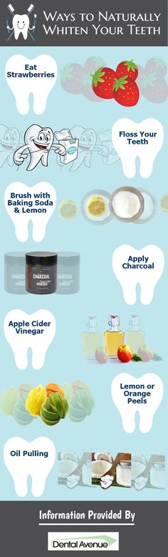 White teeth enhance the smile of a person. A bright smile can create a good impression on others. Some of the natural ways of whitening your teeth are eating strawberries, flossing your teeth, brushing with baking soda and lime, applying charcoal and cider vinegar, using lemon or orange peels and oil pulling.