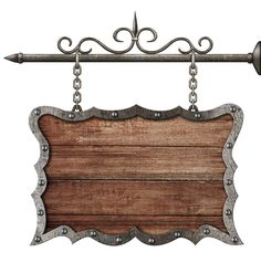 Photo about Medieval wooden sign board hanging on chains isolated on white. Image of plaque, plate, oldfashioned - 38373331 Wooden Logo, Storefront Signs, Certificate Design Template, Black Background Wallpaper, Baby Boy Room Decor, Newsletter Design, Wood Clocks, Iron Decor, Store Displays