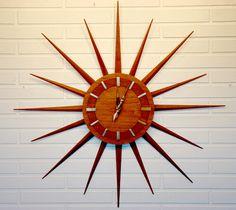Vintage Atomic DANISH MODERN Mid Century STARBURST  WALL CLOCK