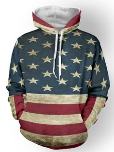 Striped Star Print Color Spliced Pullover Hoodie