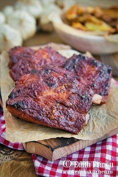 Coaste de porc marinate in bere