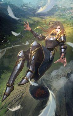 f Paladin Plate Armor Falling Story Hills valley farmland river twin lg Fantasy Warrior, Fantasy Girl, Warrior Concept Art, Dnd Characters, Fantasy Characters, Female Characters, Female Armor, Female Knight, Fantasy Artwork