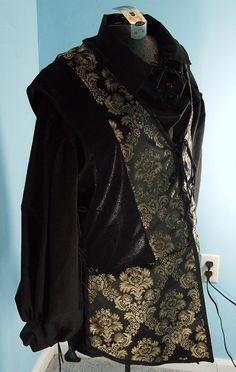 Medieval Jerkin / Vest in Black / Gold Brocade by PavaneCostuming, $50.00