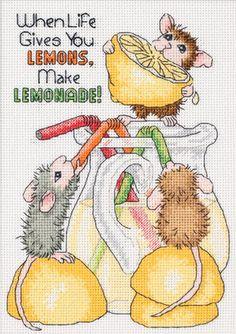 House Mouse Make Lemonade! Counted Cross Stitch Kit-8 X10