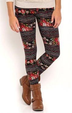Deb Shops Floral and Aztec Print Stripe Leggings $10.00