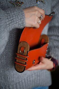 Items similar to Leather bag Orange handbag woman crossbody wood bag mini handbag italian reddish leather shoulder bag wood clutch small messenger on Etsy Bolso de piel Bolso naranja bolso bandolera mujer madera mini