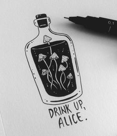 black ink alice in wonderland Tattoo Drawings, Cool Drawings, Pencil Drawings, Ink Art, Art Inspo, Art Sketches, Art Reference, Cool Art, Graffiti
