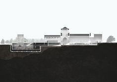 Longitudal section. Vikingship Museum. Vikingtidsmuseet, Bygdøy. Oslo 2016. Hille Strandskogen Arkitekter AS Architecture, Projects, Arquitetura, Log Projects, Blue Prints, Architecture Illustrations, Architecture Design, Architects