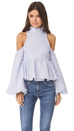 CAROLINE CONSTAS Cold Shoulder Top. #carolineconstas #cloth #dress #top #shirt #sweater #skirt #beachwear #activewear