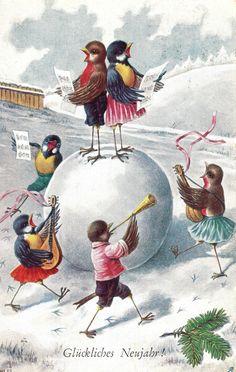 AK, Neujahr, Vögel, personifiziert, singen u. tanzen fröhlich im Schnee, 1929*** | eBay
