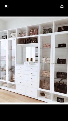 Custom Closets Greater New York This jaw-dropping bag closet was created for beauty influencer, Amra Olevic. The storage designed by California Closets New York designer , Allegra Pennisi entails a perfect boutique display and offers a ready-to-use option Walk In Closet Design, Bedroom Closet Design, Closet Designs, Custom Closet Design, Bedroom Wall, Diy Bedroom, Bag Closet, Wardrobe Closet, Ikea Pax Closet